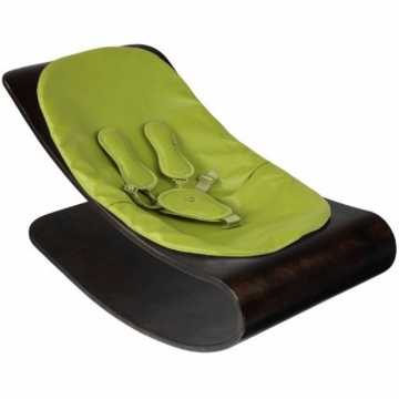 Bloom Coco Style Wood Cappuccino Baby Lounger in Gala Green