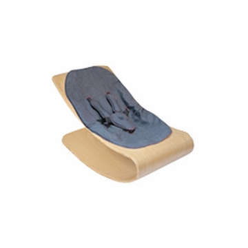 Bloom Coco Style Wood Natural Baby Lounger in Diesel Denim