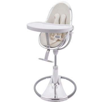 Bloom Fresco Highchair with Silver Frame in Coconut White (Leatherette)
