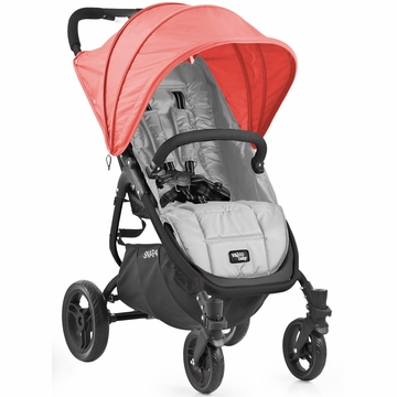 Valco Snap 4 Stroller and Hood - Silver/Coral