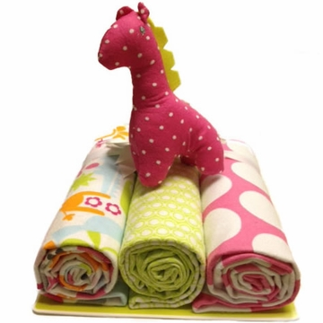 KidsLine Safari Girl Receiving Blankets - 3 Pack