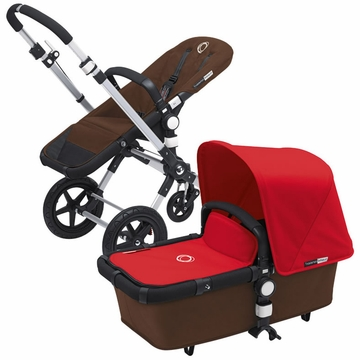 Bugaboo Cameleon 3 Bundle - Dark Brown Base / Red Fabric Set