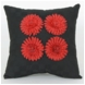 Glenna Jean McKenzie Black Pillow with Red Flowers
