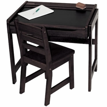 Lipper International Child's Chalkboard Desk and Chair Set - Espresso
