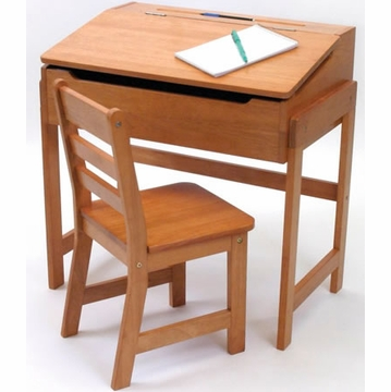Lipper International Child's Slanted Top Desk with Chair - Pecan