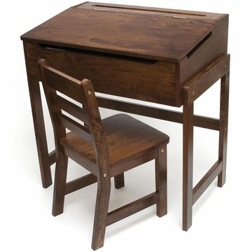 Lipper International Child's Slanted Top Desk with Chair - Walnut