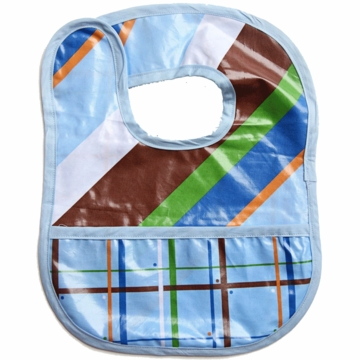 Caden Lane Reversible Coated Bib in Diagonal Stripe/Plaid