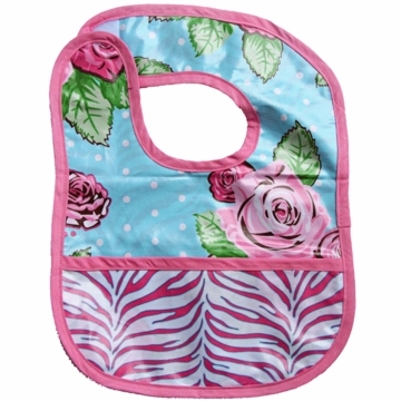Caden Lane Reversible Coated Bib in Rose Dot/Zebra