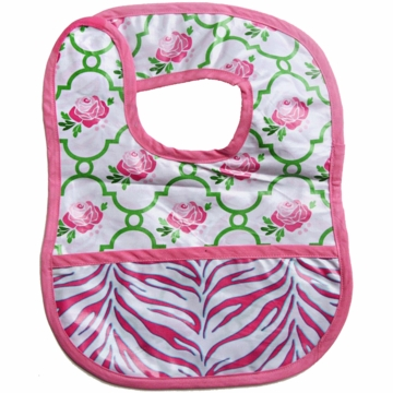 Caden Lane Reversible Coated Bib in Rose Lattice/Zebra
