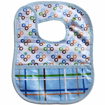 Caden Lane Reversible Coated Bib in Star Dot/Plaid