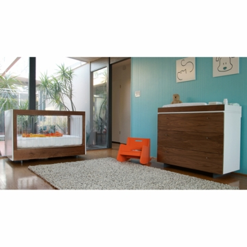 Spot on Square Roh 3 Piece Nursery Set in White/Walnut - 2 Sides Acylic Crib, Dresser & Changing Tray
