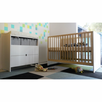 Spot on Square Oliv 2 Piece Nursery Set in White - Crib & Dresser/Changer
