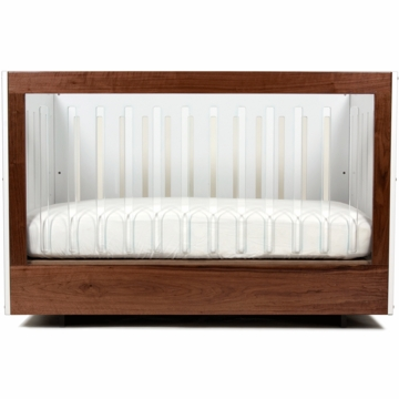 Spot on Square Roh 2 Piece Nursery Set in White/Walnut - 1 Side Acylic Crib & Credenza