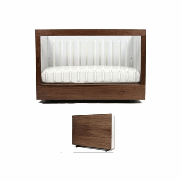Spot on Square Roh 3 Piece Nursery Set in White/Walnut - 1 Side Acylic Crib, Dresser & Changing Tray