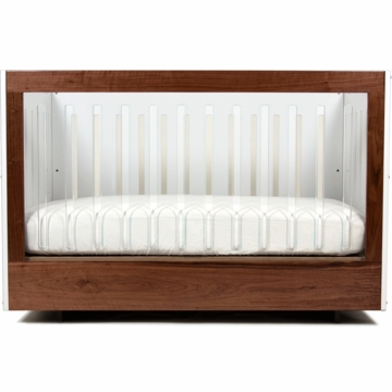 Spot on Square Roh Crib in White/Walnut - 1 Side Acrylic