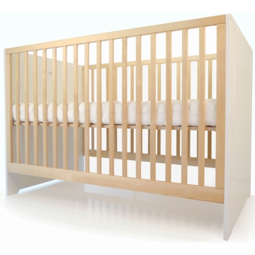 Spot on Square Oliv Crib in Birch & White