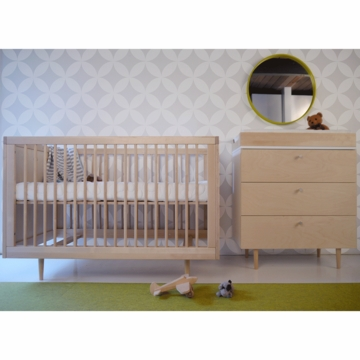 Spot on Square Ulm 3 Piece Nursery Set in Birch - Crib, Dresser & Changing Tray