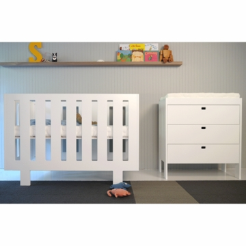 Spot on Square Eicho 2 Piece Nursery Set in White - Crib & Dresser/Changer