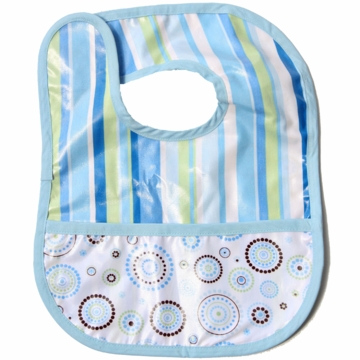 Caden Lane Reversible Coated Bib in Blue Stripe/Circle Dot
