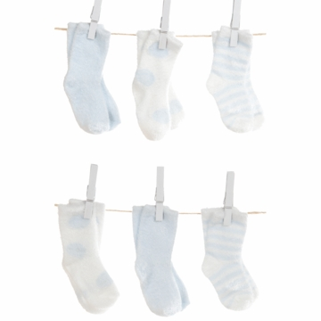 Little Giraffe Dot, Stripe & Solid Socks - Blue (6 Pack)