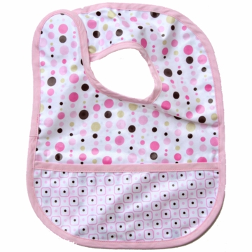Caden Lane Reversible Coated Bib in Pink Dot Line/Square