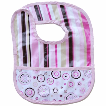 Caden Lane Reversible Coated Bib in Pink Stripe/Circle Dot