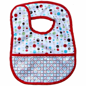 Caden Lane Reversible Coated Bib in Red Dot Line/Square