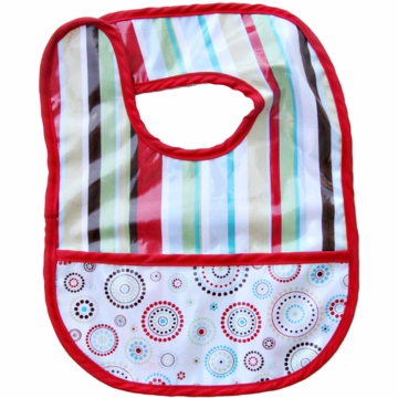 Caden Lane Reversible Coated Bib in Red Stripe/Circle Dot