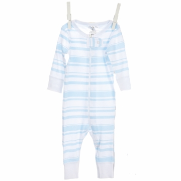 Little Giraffe Cotton Candy Stripe Romper in Blue - 6 to 9 Months