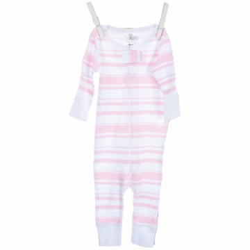 Little Giraffe Cotton Candy Stripe Romper in Pink - 0 to 6 Months