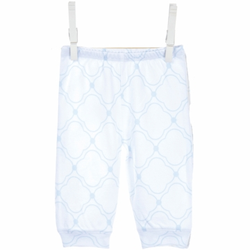 Little Giraffe Cotton Pant with Cuffs in Blue - 3 to 6 Months