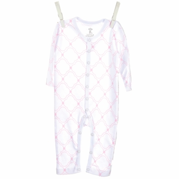 Little Giraffe Link Cotton Romper in Pink - 3 to 6 Months