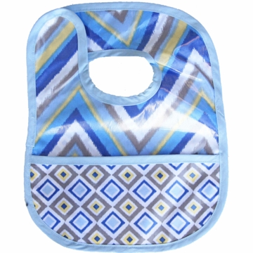 Caden Lane Reversible Coated Bib in Blue Chevron