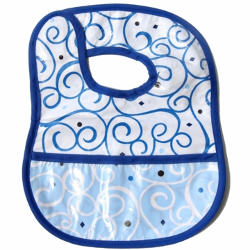 Caden Lane Reversible Coated Bib in Blue Dark Swirl/Light Swirl