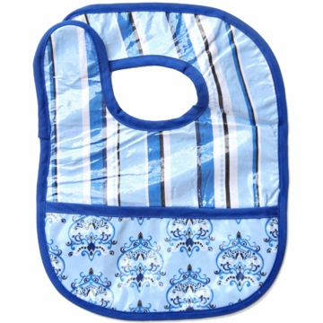 Caden Lane Reversible Coated Bib in Blue Pinstripe/Damask