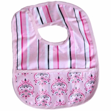 Caden Lane Reversible Coated Bib in Pink Pinstripe/Damask