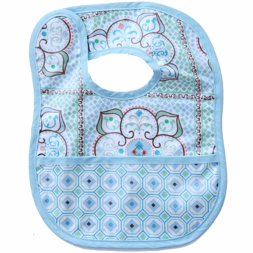 Caden Lane Reversible Coated Bib in Blue Large Moroccan/Octagon