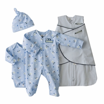 Halo 4-Piece Cotton Layette Set, Navy Pin Dot, Preemie