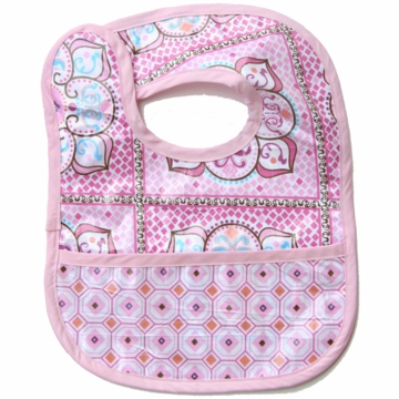 Caden Lane Reversible Coated Bib in Pink Large Moroccan/Octagon
