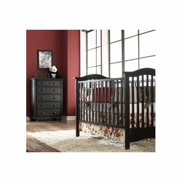 Bonavita Classic Hudson 2 Piece Nursery Set in Classic Cherry - Crib & 5 Drawer Dresser