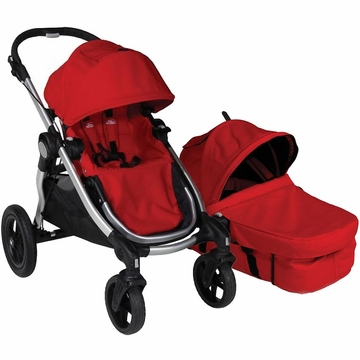 Baby Jogger City Select Stroller with Bassinet Kit in Ruby