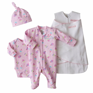 Halo 4-Piece Cotton Layette Set, Pink Pin Dot, Newborn