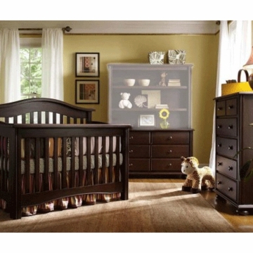 Bonavita Lifestyle Hudson 3 Piece Nursery Set in Chocolate - Crib, Double Dresser & 5 Drawer Dresser