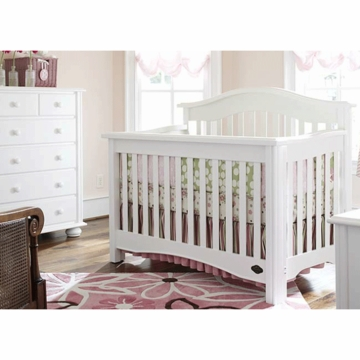 Bonavita Lifestyle Hudson 2 Piece Nursery Set in Lifestyle White - Crib & 5 Drawer Dresser