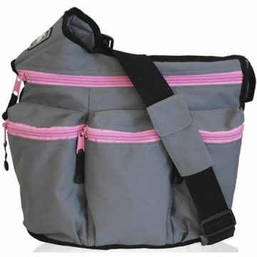 Diaper Dude Diva Diaper Bag in Grey with Pink Zipper
