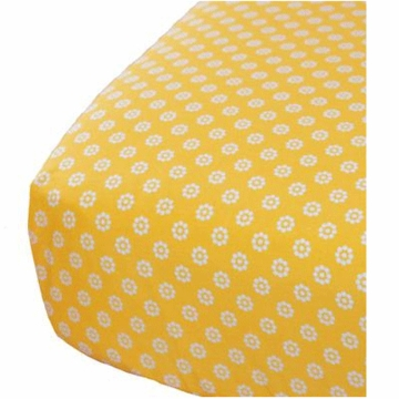 Oliver B Crib Sheet in Yellow with Mod White Flowers