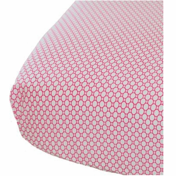 Oliver B Crib Sheet in White with Geometric Fuchsia Circles