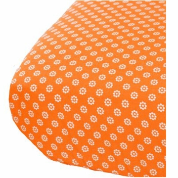 Oliver B Crib Sheet in Orange with Mod White Flowers