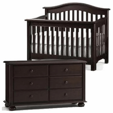 Bonavita Lifestyle Hudson 2 Piece Nursery Set in Lifestyle Cherry - Crib & Double Dresser