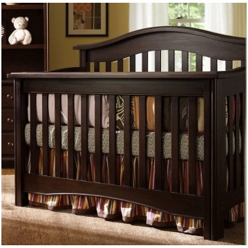 Bonavita Lifestyle Hudson 2 Piece Nursery Set in Chocolate - Crib & 5 Drawer Dresser